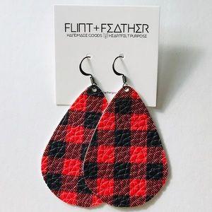 Flint+Feather Buffalo Check Faux Leather Earrings